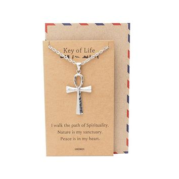 Laniya Ankh Cross Pendant Necklace, Gifts for Men and Women with Inspirational Quote on Greeting Card