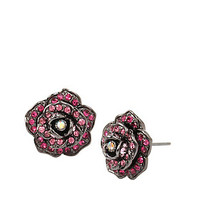 GARDEN OF EXCESS ROSE BUTTON EARRING: Betsey Johnson
