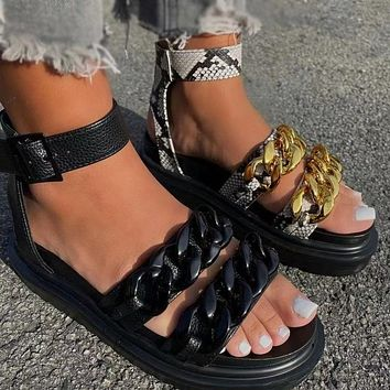 New style thick-soled metal chain Fashion ladies sandals and slippers