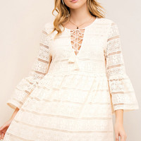 Natural Lace Baby Doll Dress