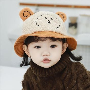 Cute Hat Baby Autumn And Winter Children All-Match Fisherman Hat Boys And Girls Baby Pot Hat Corduroy Windproof