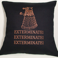 Dalek Dr Who inspired Embroidered Pillow Case Cover