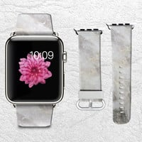 Grey Marble Apple Watch Band, 42mm/38mm Genuine Leather Strap Wrist Band Replacement with Metal Clasp for Apple Watch All Models 42mm/38mm iWatch Strap -X01