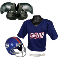 New York Giants NFL Helmet and Jersey SET with Shoulder Pads with Shoulder Pads