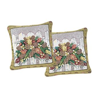 "DaDa Bedding Set of Two Christmas Fiesta Throw Pillow Covers w/ Inserts - 18"" - 2-PCS"