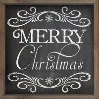 Wooden Christmas sign with a chalkboard look framed out in wood Christmas plaques Christmas decor Merry Christmas signs Chalkboard sign