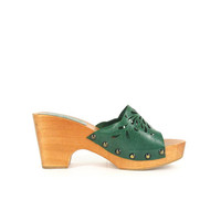 Vintage Wedge Sandals - Wooden Heel Clogs - Green Leather Slides - Slip On Mules - Open Toe Platforms - Made in Italy - Womens EU 37 / US 6