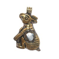 Large brass pearl rabbit pendant