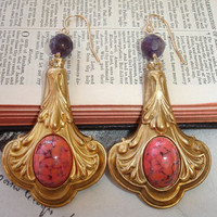 THEODORA - Victorian Brass Decorative Drop Dangle Earrings, Vintage Coral Art Glass Cabochons, Gold Fill, Amethyst Accents, Byzantine Style