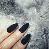 Black Stiletto Nails | Fake Nails | Press on Nails | Pointy Nails