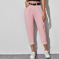 Solid High Waist Cropped Carrot Jeans