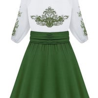 ROMWE Embroidered Floral Color Block Pleated A-line Dress