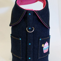 RockinDogs Denim Jacket Harness with Cupcake Applique