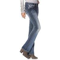 Miss Me-Faded Silver Cross Boot Cut Jeans