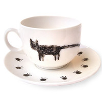 Hand Painted Cat Cup with Saucer, Hand Painted Ceramic, Cat with Long Tail, Cat Mug, Milk, Tea, Coffee, OOAK