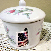 Stamp Dispenser Holder Moss Rose Porcelain Ceramic Storage Office blm