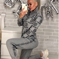 GIVENCHY New Popular Women Casual Round Collar Top Pants Set Two-Piece gray