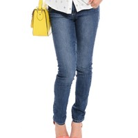 Blue Double Button Skinny Jeans | $10.0 | Cheap Trendy Jeans Chic Discount Fashion for Women | ModDe