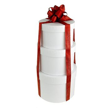 Holiday White Round Nested Gift Boxes, 5, 6 and 7-Inch, 3-Piece