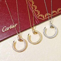 Cartier Fashion New Diamond Opening Pendant Women Necklace