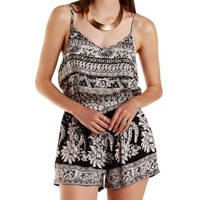 Black Combo Strappy Scarf Print Romper by Charlotte Russe