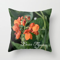 bright orange bean flowers. garden vegetable plant photography. Throw Pillow by NatureMatters