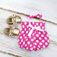 Hot Pink with White Polka Dot High Waisted Baby Bloomers | Hot Pink and White Polka Dot Bloomers for babies and toddlers