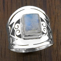Sterling Silver Moonstone Ring (India) | Overstock.com