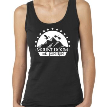 Mt Doom Fun Run, Mordor LOTR Parody Ladies or Mens Tank Top, Nerd Girl Tees,Geek Chic