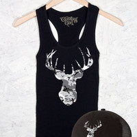 Women's Country Girl ® Camo Deer Head Fitted Racerback Tank & Hat Package