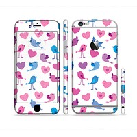 The White with Pink & Blue Vector Tweety Birds Sectioned Skin Series for the Apple iPhone 6