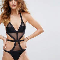 New Look Bandage Cut Out Swimsuit at asos.com
