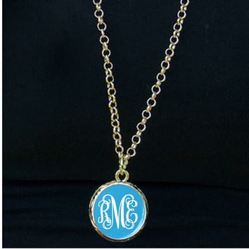 Monogram Necklace, Bridesmaid gift, Monogrammed Gifts, Monogram Enamel Necklace, Monogrammed Necklaces, Mothers Day Necklace