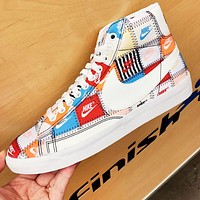 "Bunchsun Nike Blazer Mid ""Patchwork"" New fashion multicolor more letter hook couple high top shoes"