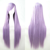 Womens/Ladies 100cm Light Purple Color Long STRAIGHT Cosplay/Costume/Anime/Party/Bangs Full Sexy Wig (1M,Straight,Light Purple)