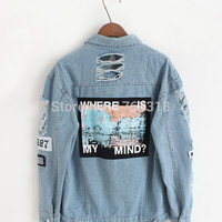 New Arrival Destroyer Embroidery Letters Jeans Loose BF Back Patch Denim Jacket Coats Oversize Women Harajuku Style Outerwear