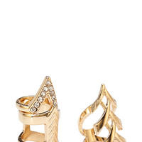 FOREVER 21 Pointed Cutout Ring Set Gold/Clear