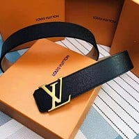 Inseva LV Louis Vuitton Popular Woman Men Stylish LV Letter Smooth Buckle Belt Leather Belt