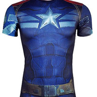 Blue Captain America Pattern Sleeve T-Shirt