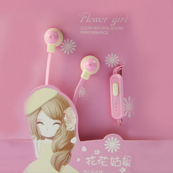 Candy Color Flower Girl Cute Earphones 3.5mm In-Ear Earbuds Stereo Clear Natural Sound Headset With Mic