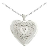 """Sterling Silver Diamond Accent Flowers and Leaves Heart Locket Pendant Necklace, 18"""""""