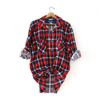 20% OFF SALE Vintage red Plaid Flannel / Grunge Shirt / Boyfriend button up shirt / Lumberjack flannel / Backpacker Outdoors