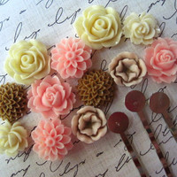 Resin Flower Cabochon Kit with Bobby Pins / 24 pc by ohwhatfunatl