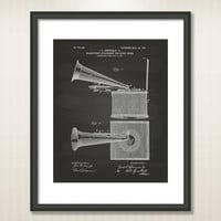 Music Boxs 1904 Patent Art Illustration - Drawing - Printable INSTANT DOWNLOAD - Get 5 Colors Background