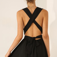 Black Sleeveless Cross Back Jumpsuit - Sheinside.com