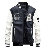 Mens Baseball Faux Leather Jacket