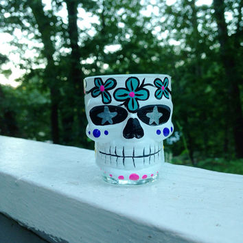 Hand painted sugar skull shot glass by ArianaVictoriaRose on Etsy