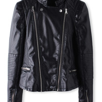 'The Teresa' Black Long Sleeve Leather Jacket