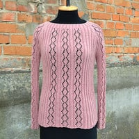 Hand knit Linen Sweater Pink Sweater Dusty Pink Longsleeve Sweater Womens Clothing Victorian Rose Sweater Openknit Sweater Gift for her