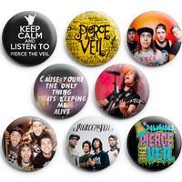 Pierce The Veil #2 Pinback Buttons,8pcs Pin Badges,1.25 inch, New Edition